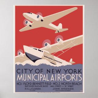 New York City Municipal Airports WPA Poster 1937