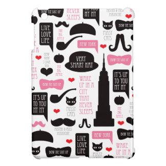 New York City mustache vintage pattern ipad mini iPad Mini Case