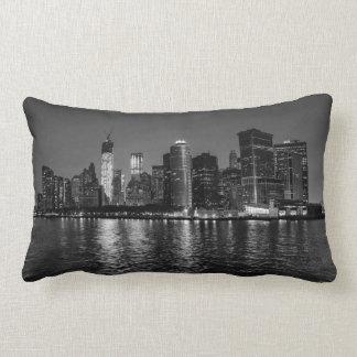 New York City Night Skyline Lumbar Pillow