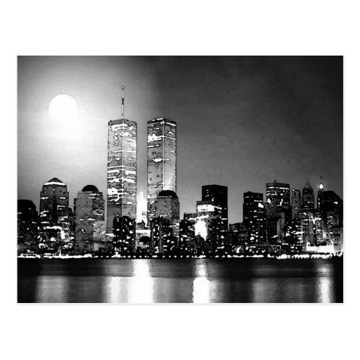 new york city noir et blanc la nuit cartes postales zazzle. Black Bedroom Furniture Sets. Home Design Ideas