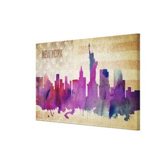 New York City, NY | Watercolor City Skyline Canvas Print