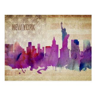 New York City, NY | Watercolor City Skyline Postcard