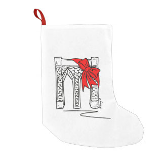 New York City NYC Brooklyn Bridge Bow Chrismas Small Christmas Stocking
