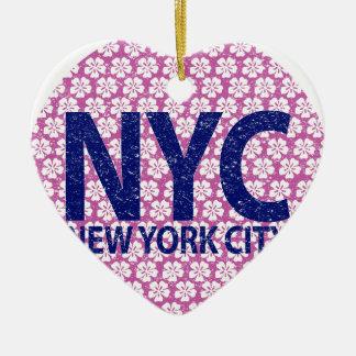 New york city NYC Ceramic Heart Ornament