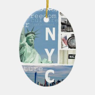 New York City Nyc Ceramic Oval Ornament