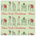 New York City NYC Christmas Landmarks Fabric