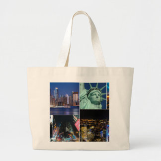 New York City NYC collage photo cityscape Large Tote Bag