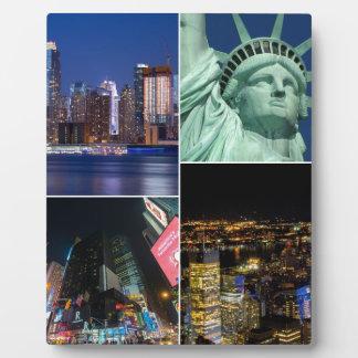 New York City NYC collage photo cityscape Plaque