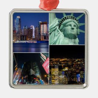 New York City NYC collage photo cityscape Silver-Colored Square Ornament