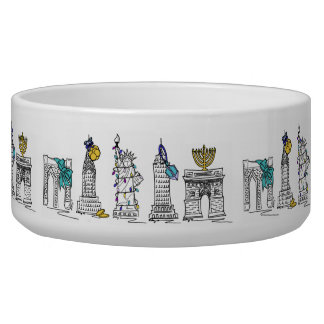 New York City NYC Hanukkah Holiday Gift Pet Bowl