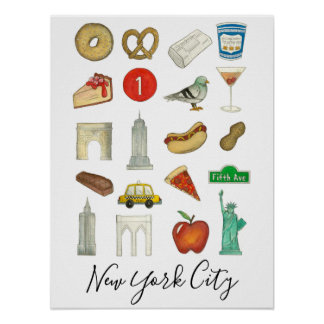New York City NYC Icon Landmarks Architecture Food Poster