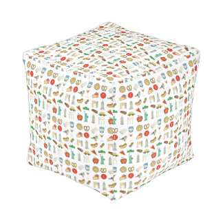 New York City NYC Icons Foods Landmarks Buildings Pouf