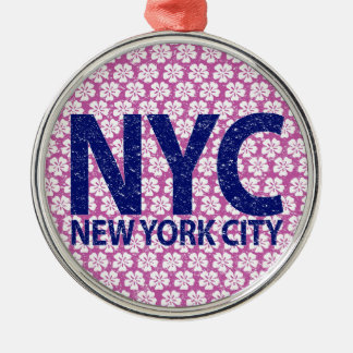 New york city NYC Silver-Colored Round Ornament