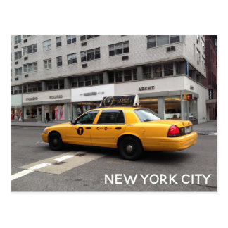 New York City NYC Yellow Checkered Taxi Cab Car Postcard