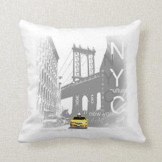 New York City Nyc Yellow Taxi Brooklyn Bridge Throw Pillow