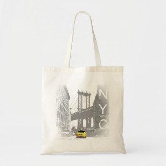 New York City Nyc Yellow Taxi Brooklyn Bridge Tote Bag