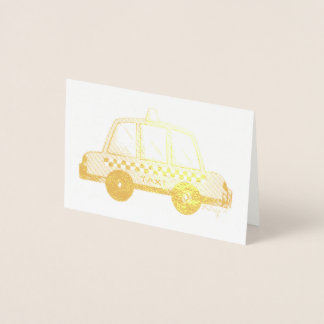 New York City NYC Yellow Taxi Checkered Cab Car Foil Card