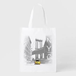 New York City Nyc Yellow Taxi Pop Art Grocery Bags