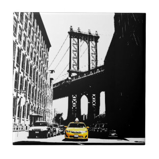 New York City Nyc Yellow Taxi Pop Art Tile