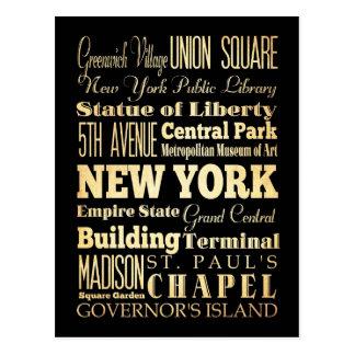 New York City of New York State Typography Art Postcard