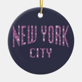 New York City on Spring Pink Rose Ceramic Ornament
