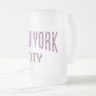 New York City on Spring Pink Rose Frosted Glass Beer Mug