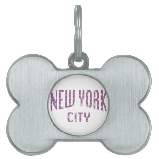 New York City on Spring Pink Rose Pet ID Tag