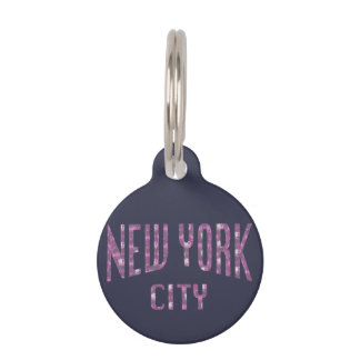 New York City on Spring Pink Rose Pet Tag