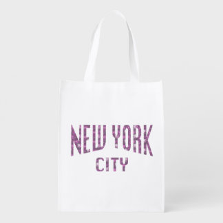 New York City on Spring Pink Rose Reusable Grocery Bag