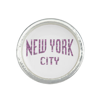 New York City on Spring Pink Rose Rings
