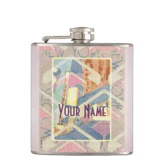 New York City Pastel Tones Times Square Art Deco Hip Flask