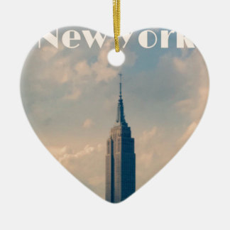 "New York City Print "" I love New York"" Ceramic Ornament"