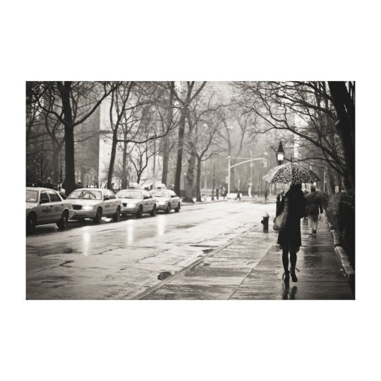 New York City - Rainy Day in Greenwich Village Canvas Print