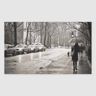 New York City - Rainy Day in Greenwich Village Rectangle Stickers