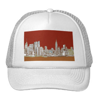 New York city red sepia Hat