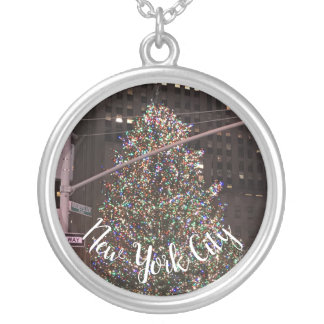 New York City Rockefeller Center Christmas Tree Silver Plated Necklace