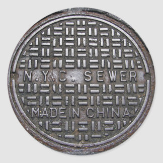 New York City Sewer Cover & Asphalt Photograph Fun Classic Round Sticker