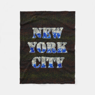 New York City Silver Blue Glitters Fleece Blanket