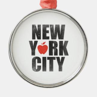 New York City Silver-Colored Round Ornament