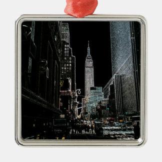 New York City Silver-Colored Square Ornament
