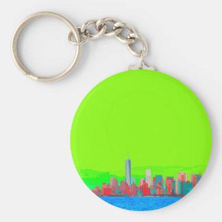 New York City Sky Line Basic Round Button Keychain