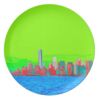 New York City Sky Line Party Plate