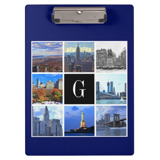 New York City Skyline 8 Image Photo Collage Clipboard