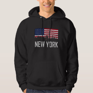 New York City Skyline American Flag Distressed Hoodie