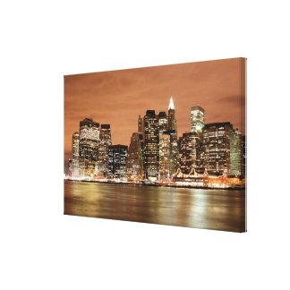New York City skyline at Night Lights Canvas Print