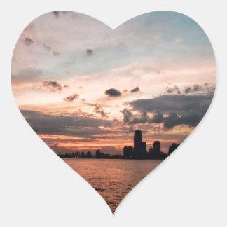 New York City Skyline at Sunset Heart Sticker