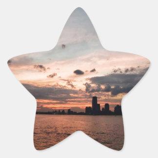 New York City Skyline at Sunset Star Sticker