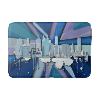 New York City Skyline | Blue 3D Bath Mat
