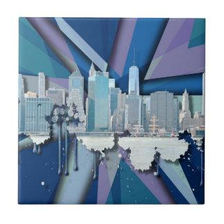 New York City Skyline | Blue 3D Ceramic Tile