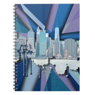 New York City Skyline | Blue 3D Notebook